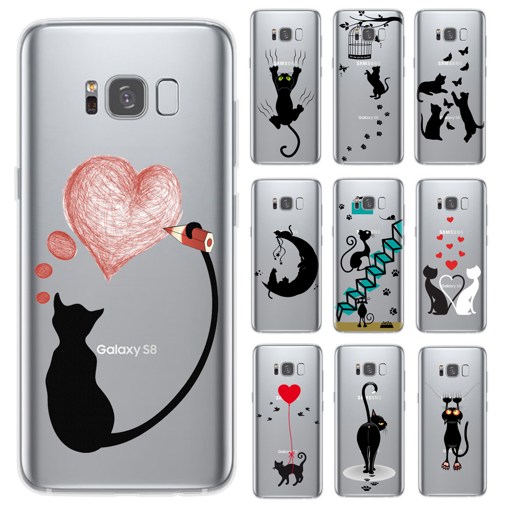 Soft TPU <font><b>Phone</b></font> <font><b>Case</b></font> For <font><b>Samsung</b></font> Galaxy S6 S7 Edge S8 S9 Plus <font><b>A5</b></font> J3 J5 J7 <font><b>2016</b></font> 2017 J4 J6 A6 A8 Plus 2018 Cute Cat Steele Cover image