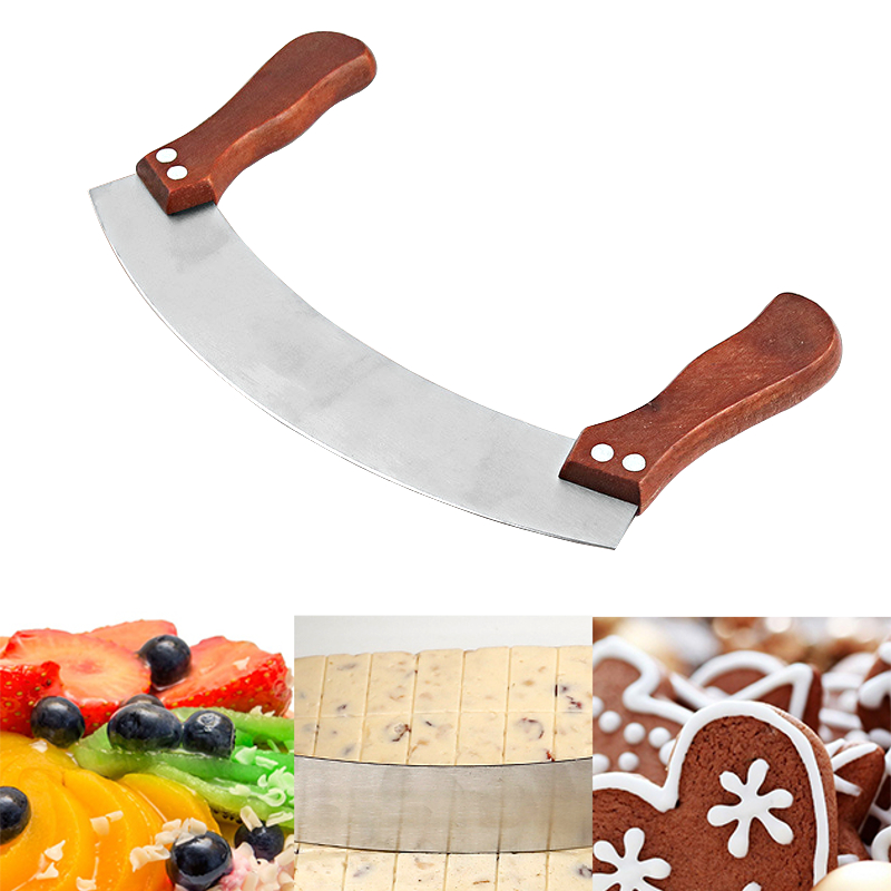 Pizza Cutter Stainless Steel Knife Cutting Chopping Tool with Double Wood Rocker Style Blade  Knife Cutting Tools Accessories нож для пиццы