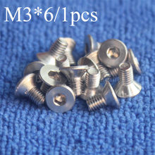 1 יחידות M3 * 6 ראש שטוח נירוסטה SS304 מכונת בורג Countersunk Bolt אטב ראש מפתח אלן hex socket ראש countersunk(China)