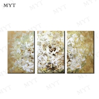 MYT 3 PCS 1 Set Flowers Handpaint Oil Painting By Artist Hand Painted Oil Painting On Canvas Wall Art Decor for Home Decoration