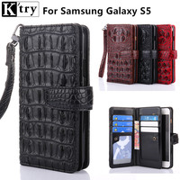 K Try Wallet Case For Samsung Galaxy S5 I9600 Luxury Crocodile Pattern Pu Leather With Soft