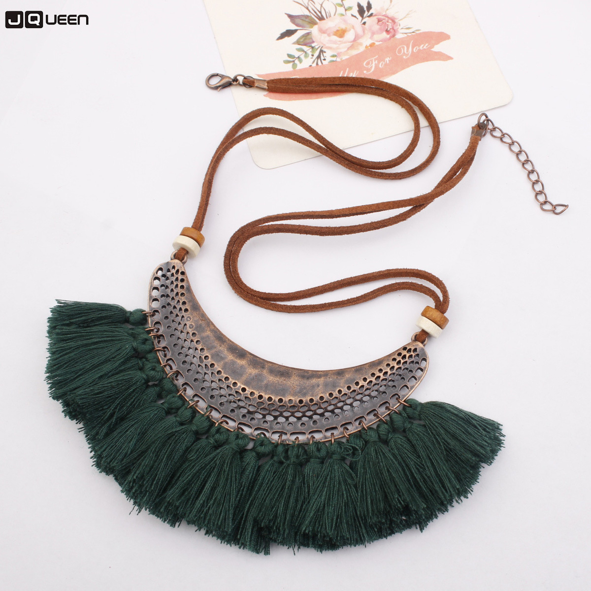 Chain Necklace Tassels-Sweater Moon Pendant Woman Accessories Alloy-Crescent Colorful