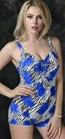 Impresión floral Boxer Bañadores azul baño de una pieza traje de baño para las mujeres Swim ropa más tamaño 5xl e673