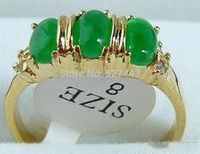 Wholesale SHIPP Emerald Green Jade 3 Bead 18KGP Ring Size 8 5 24