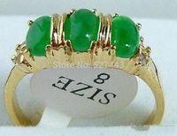 Wholesale SHIPP Emerald Green Jade 3 Bead 18KGP Ring Size 8 5 24