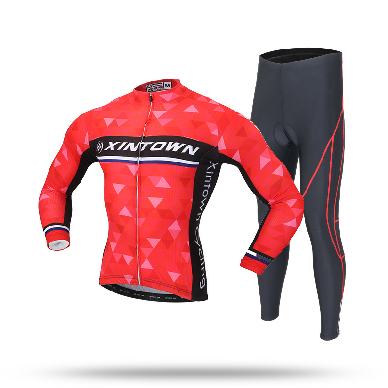 XINTOWN Long Sleeve Spring Long Sleeves Cycling Wear Clothes Bicycle Bike Cycling Jersey Bib Pants Set Ropa Ciclismo xintown bicycle cycling sweat absorbent short sleeves dacron jersey pants set red black l