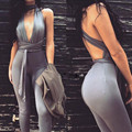 Deep V-neck Black Tight Coveralls Solid Piece Pants Night Club Suspenders Lady Sexy Halter Party Jumpsuit
