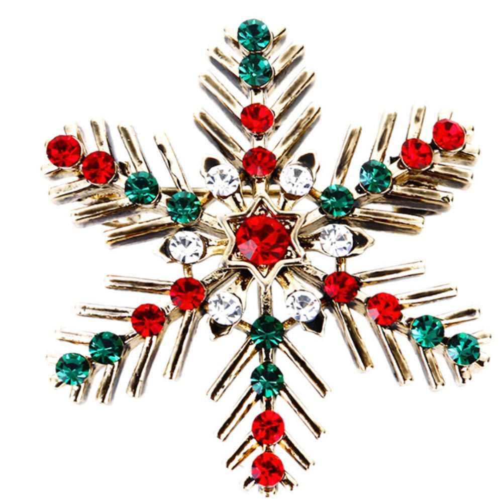 Klasik Indah Natal Snowflake Kristal Berlian Imitasi Bros Pin Perempuan Femme Broche Kostum Bijoux Aksesori Hadiah