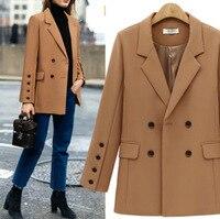 2018 Autumn New Style Versatile Loose Fit Long Women Suit Jackets Buttons Camel/Black