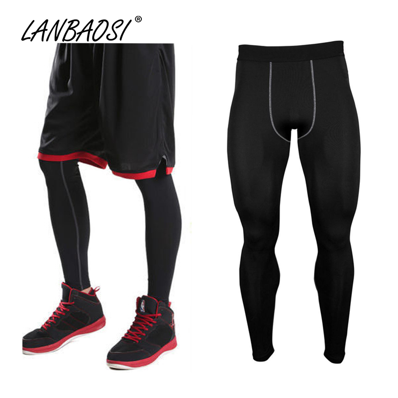 LANBAOSI Athletic Kompresi Celana Baselayer Tights untuk Pria Menjalankan Jogging GYM Workout Kebugaran Basket Kulit Ketat Legging