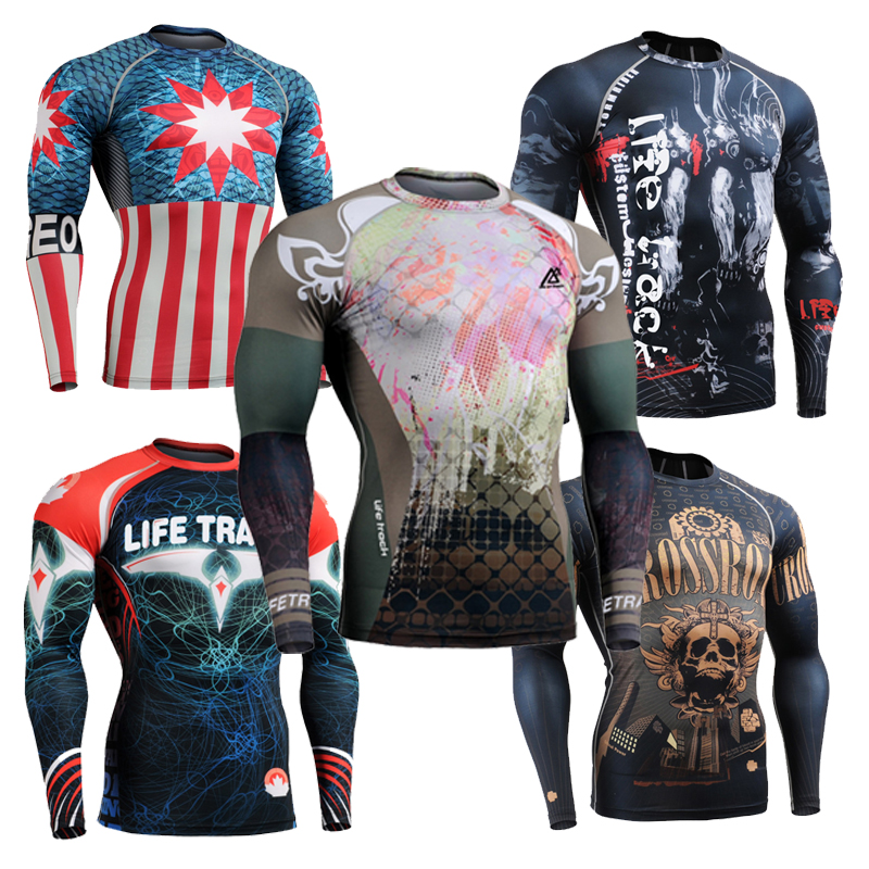 2016 Brand Mens Boxing Wear Compression T Shirt For Men Bodybuilding And Fitness Rag Shirt Sublimation Muscle World Gym Tops