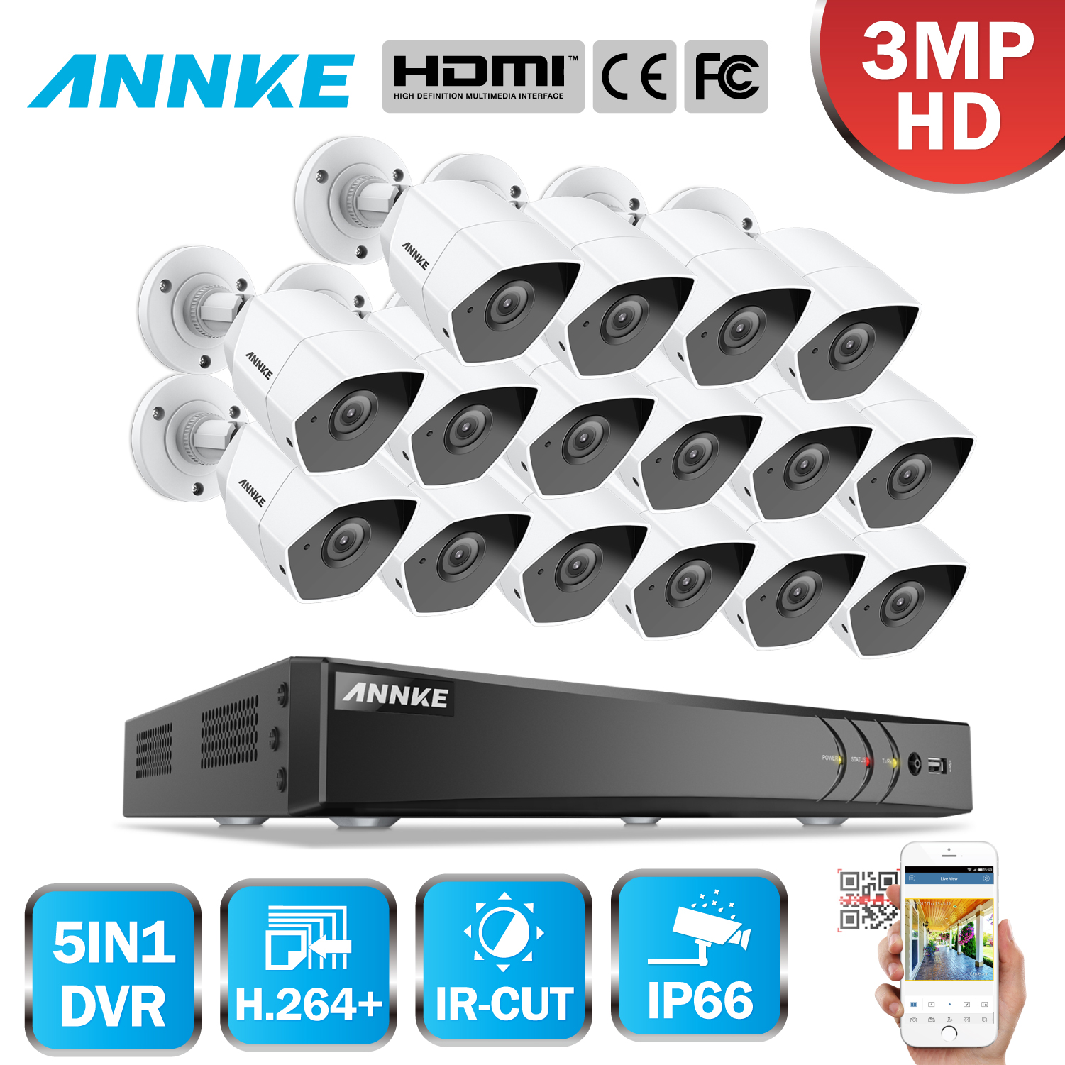 ANNKE Full HD 16CH 5in1 3MP CCTV System 16pcs 3MP Security Bullet Waterproof Camera Smart IR Outdoor 3MP Video Surveillance Kit dahua 3mp ir waterproof