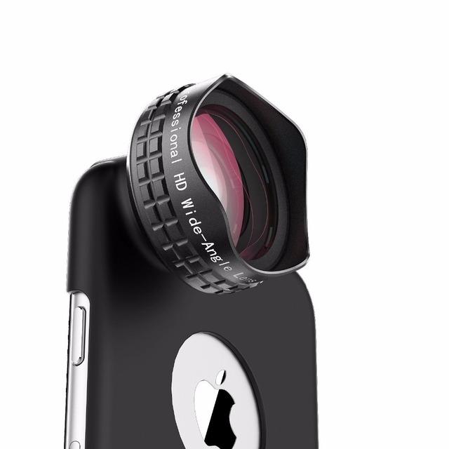 Aukey óptica de la lente pro, teléfono celular de gran angular lente de la cámara Kit y clip, Case para iPhone 6 SPlus y Clip para Smartphones