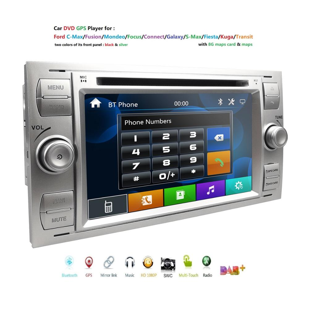 2din Car DVD GPS Navi Player Stereo Radio Audio For Ford Focus 2 Mondeo S C Max Fiesta Galaxy Connect With 8G map usb rds swc bt