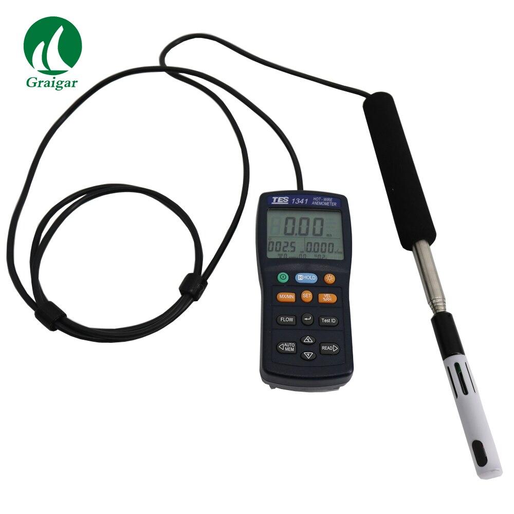Anémomètre à fil chaud TES-1341 TES 1341 anémomètre à fil chaud TES1341 testeur de vitesse d'air à flux d'air cvc avec Interface USB