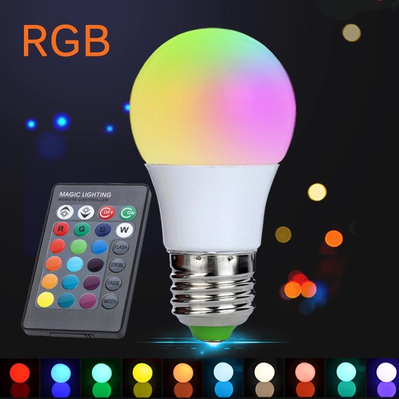 3W E27 RGB LED Bulb 220V 110V Lampada LED RGB LED Lamp Light High Power 16 Color with 24 key IR Remote Control for Christmas Luz