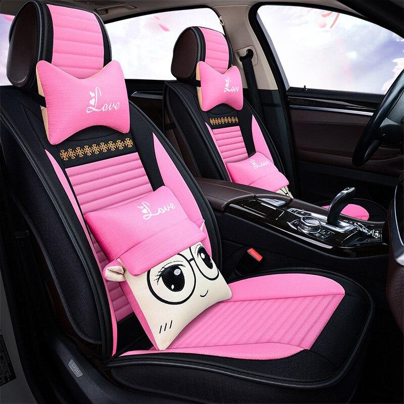 Mode mignon housse de siège de voiture auto coussin de siège en Fiber de voiture siège cape mat dossier pour siège Auto automobile