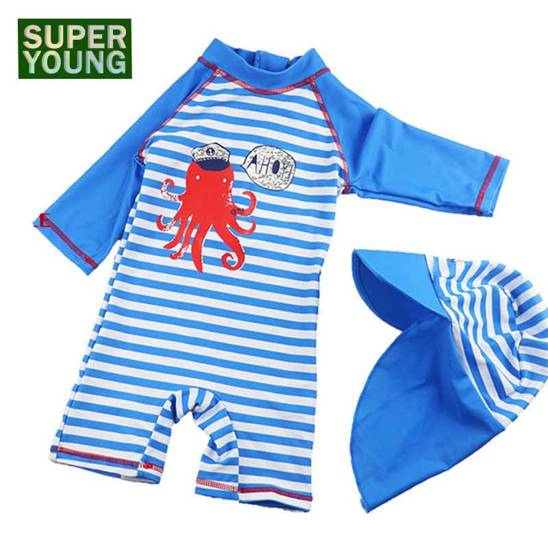 2e8dafcc8 Baby Boy Swimwear+hat Swimming Set Kid UV Prodection Cartoon Swim Suit  Toddler Beach Swimsuit Children Summer Bathing Sport Wear