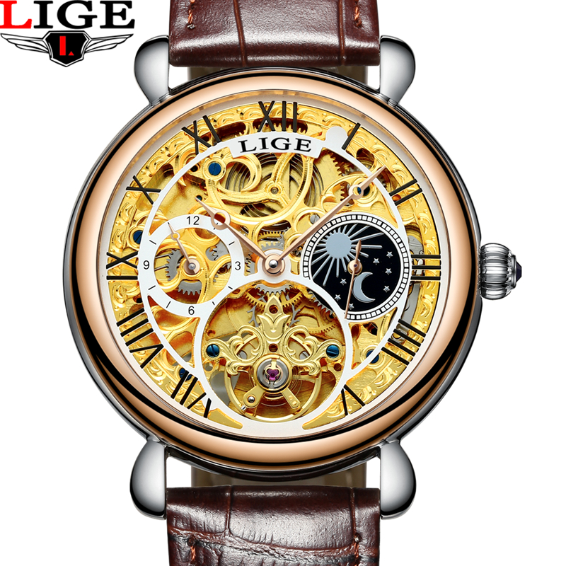 2017 Mens Watches Top Brand Luxury LIGE Automatic Mechanical Watch Man Fashion Business Leather Wristwatch relogio