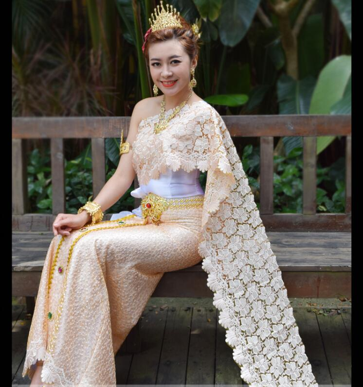 Dai Princess Thai Dress Includes Scarf Traditional Style Photo Studio Outfit Wedding Splashing Thailand Queen Festival Dress