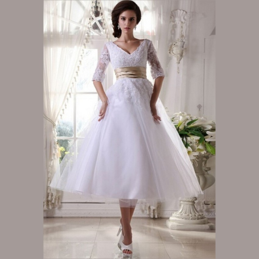 Vintage Lace Tea Length Beach Wedding Dress Short Sleeves: 2015 White Lace Tea Length Wedding Dresses With Sleeves V