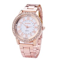 Rose Gold Color Women Dress Watches Geneva Stainless Steel Watch Women Rhinestone Luxury Casual Quartz Watch