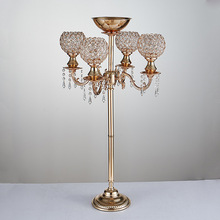 5 arms Crystal Candelabra 89cm Tall Candle Holder wedding Centerpiece Gold candelabrum