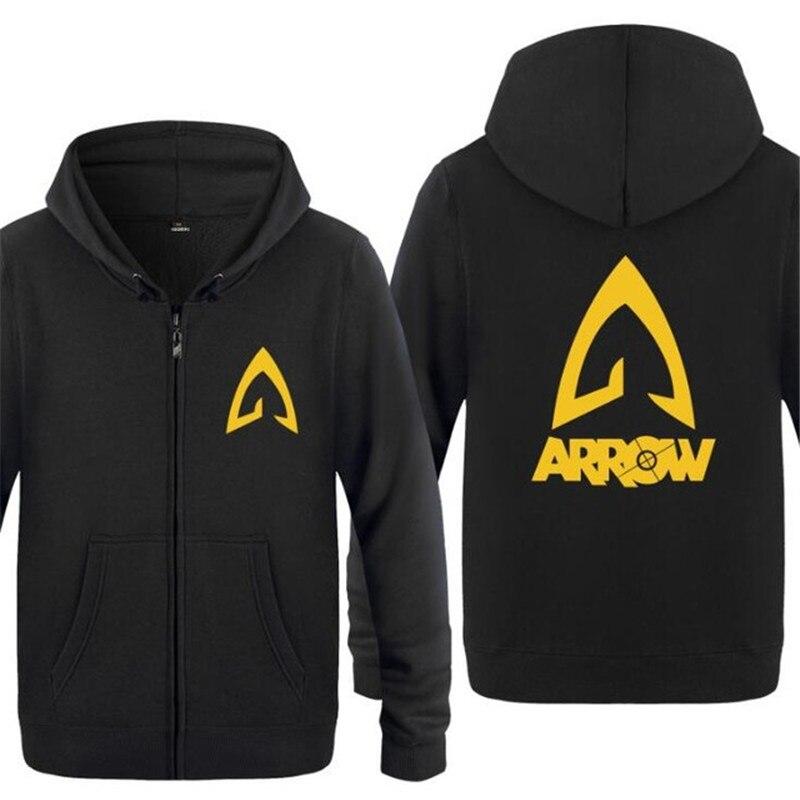 Mens Hoodie Movie Justice League Arrow Hoodies Men Fleece Long Sleeve Zipper Jacket Coat Sweatshirt Hip Hop Skate Tracksuit