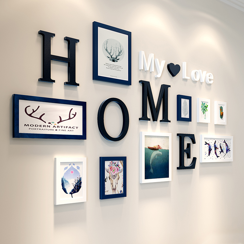 Creative Combination 9pcs lot Picture Frames HOME My love letter Wood Frames for Painting Wall Hanging
