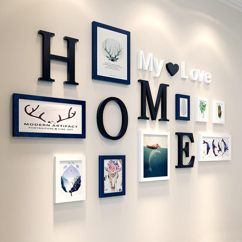 Combinaison créative 9 pcs/lot cadres Photo maison mon amour lettre cadres en bois pour peinture tenture murale ornements cadre Photo ensemble