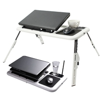 2 USB Cooling Fans Laptop Desk Table Folding Laptop Stand Desk Holder With Powerful Mouse Pad