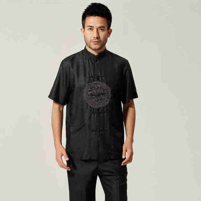 Verão preto tradição chinesa 100% Silk dos homens Kung Fu Shirt alta qualidade mangas curtas camisa tamanho sml XL XXL XXXL MS038