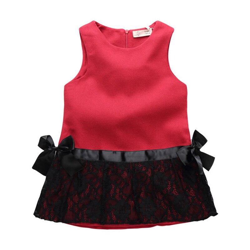 Mädchen kleider 2018 Kinder Ärmellose Spitze und Blumen Kinder Kleidung Prinzessin Kleid vestido menina vermelho infantil