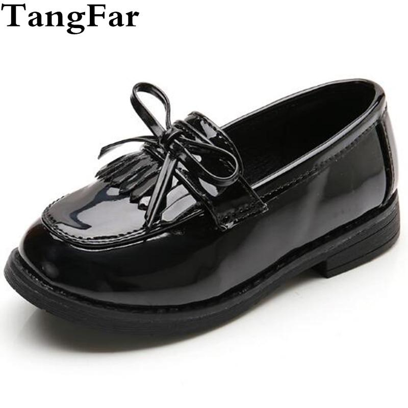 Girls Leather Shoes Black Bowtie Fringe Princess Dance Dress Shoe Kids  Waterproof Loafers Platform Children Moccasins 1c9f00f63b9a