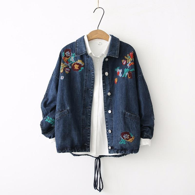 Autumn Winter New European Denim Jackets Women Loose Floral Embroidery Hem Lace-up Harajuku Coat Female Classic Jeans Jackets