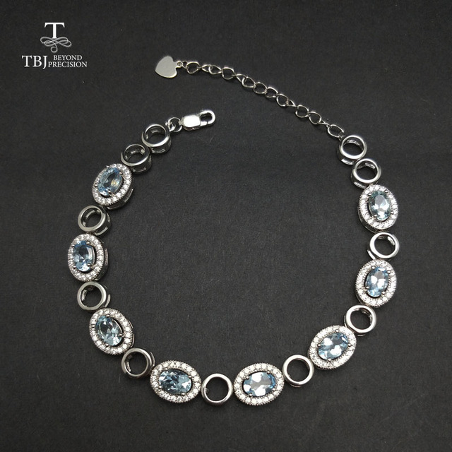 Tbj 100 Natural Brazil Aquamarine Bracelet In 925 Silver Elegant Gemstone For Women S As Gift With Jewelry Box