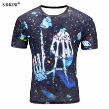 Brand Skull T shirt men Blood Clothes groot Funny Clothing Hip-Hop Tees 3D Tops men T-shirt Short Sleeve Male Fashion Homme 2018(China)