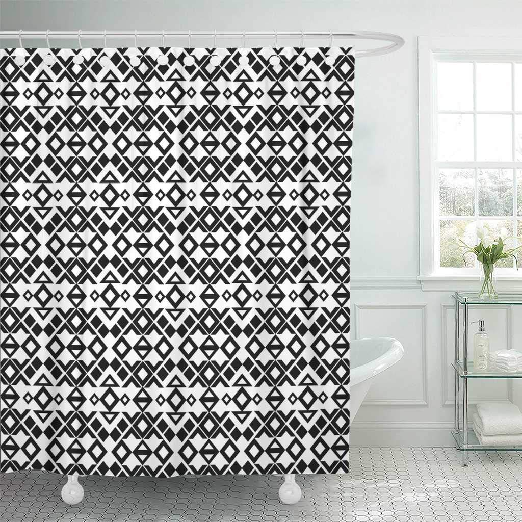 Us 16 69 44 Off Shower Curtain With Hooks Diamond Ethnic Pattern Ikat Mexico Native Navajo Abstract American Asian Bathroom Curtains In Shower