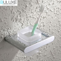 BULUXE Brass Bathroom Accessories Toothbrush Holder Wall Mounted Bath Acessorios de banheiro Cup Holder HP7739