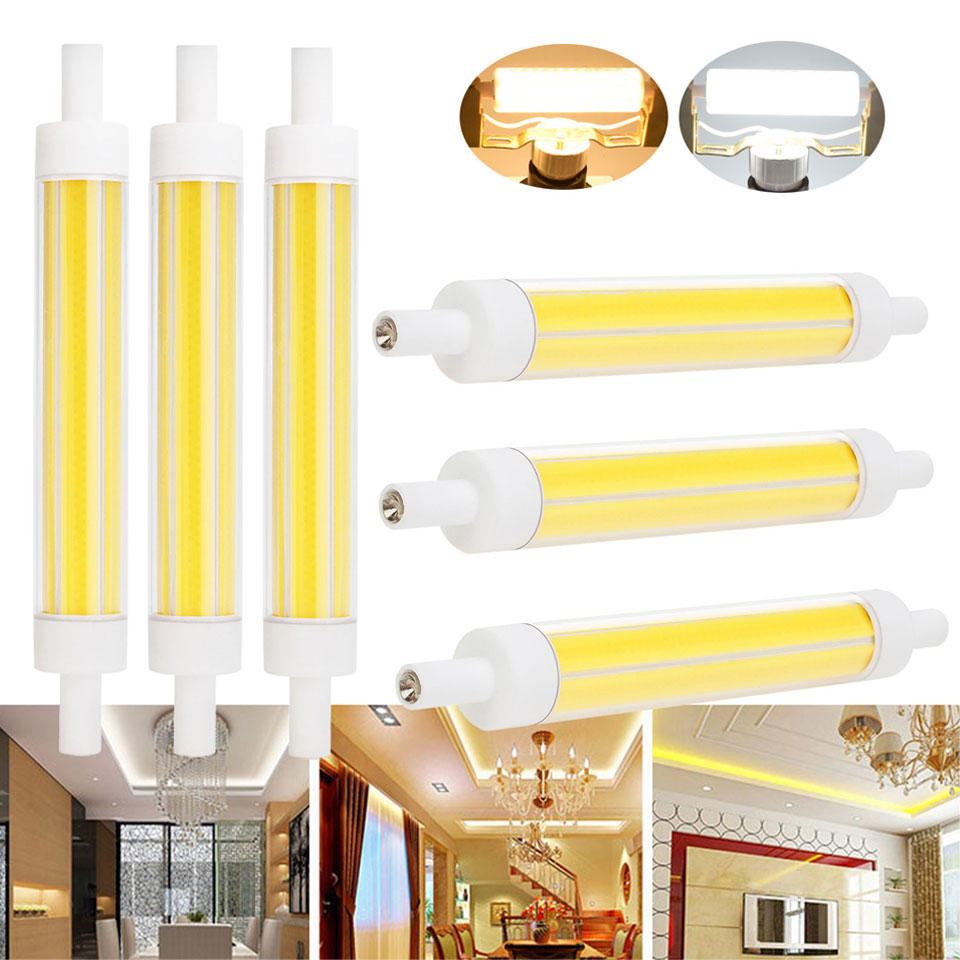 Regulable bombilla led R7s 118mm LED 15 W J118 cerámica led cob ahorro de energía para las luces caseras 220 V reemplazar reflector