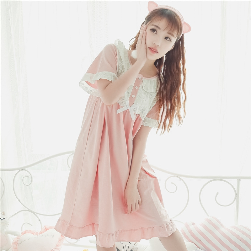 Princess sweet lolita Cotton   Nightgowns     Sleepshirts   lace hollow out crochet girls' Home wear Home dress QQ042