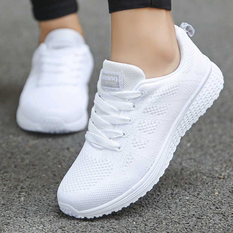 Tennis-Shoes Flat-Sneakers Cross-Strap Breathable Fashion Women Mesh Lace-Up Casual