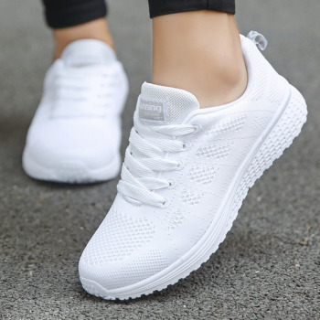 Tennis Shoes For Women 2019 Fashion Casual Shoes Lace-Up Breathable Mesh Round Cross Strap Flat Sneakers Calzado Deportivo Mujer