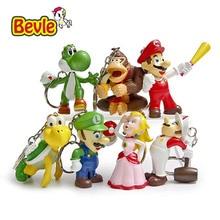 Bevle Super Mario 7pcs/lot King Ring Pendant Mario Bros Peach Donkey Kong Yoshi PVC Action Figure Model Kit Toys Doll Decoration
