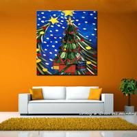 Christmas Gift!! Handpainted Christmas Tree Oil Paintings On Canvas Wall Painting Art Wall Pictures For Living Room Home Decor