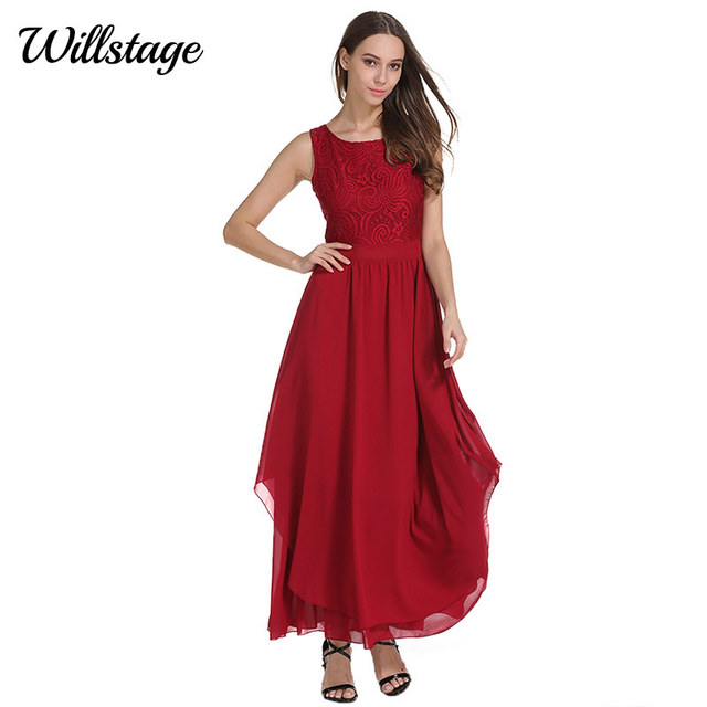 Willstage Women Long Dress Chiffon Lace Red Sexy V Backless Maxi Dresses  Pleated Party Night dress 2018 Summer Spring Vestidos 046bae20bc28