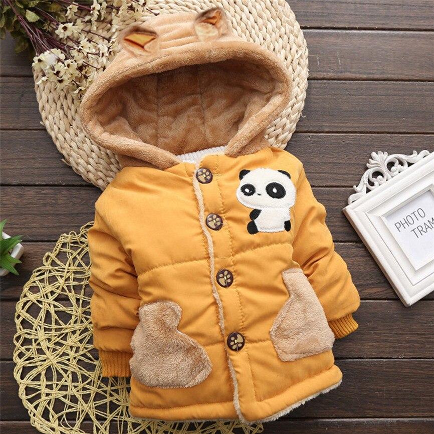 2018 новый милый ребенок для маленьких мальчиков для девочек на весну и зиму пальто с капюшоном плащ Толстая теплая верхняя одежда с капюшоно...