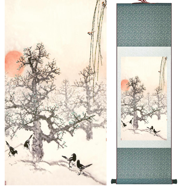 landscape painting Home Office Decoration Chinese scroll painting mountain and River paintingPrinted painting042312