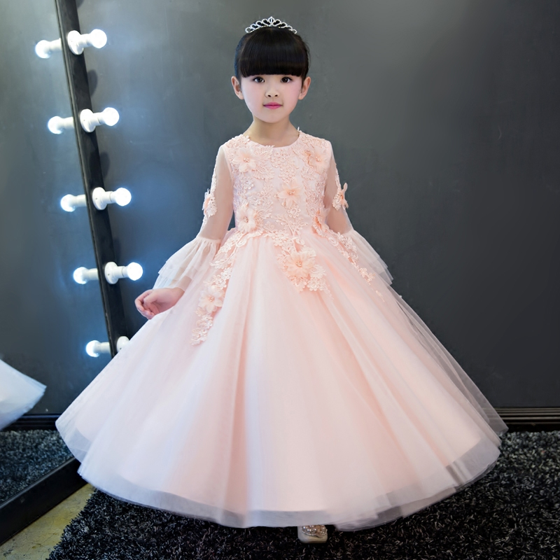 Fashion Long Sleeve Pink Flower Girl Dresses For Weddings Summer 2017 O Neck Slim Embroidery Girls Dress Children Clothes P27 hayden girls patchwork dress kids pleated dresses solid color children girl long sleeve o neck chiffon dress pink blue grey