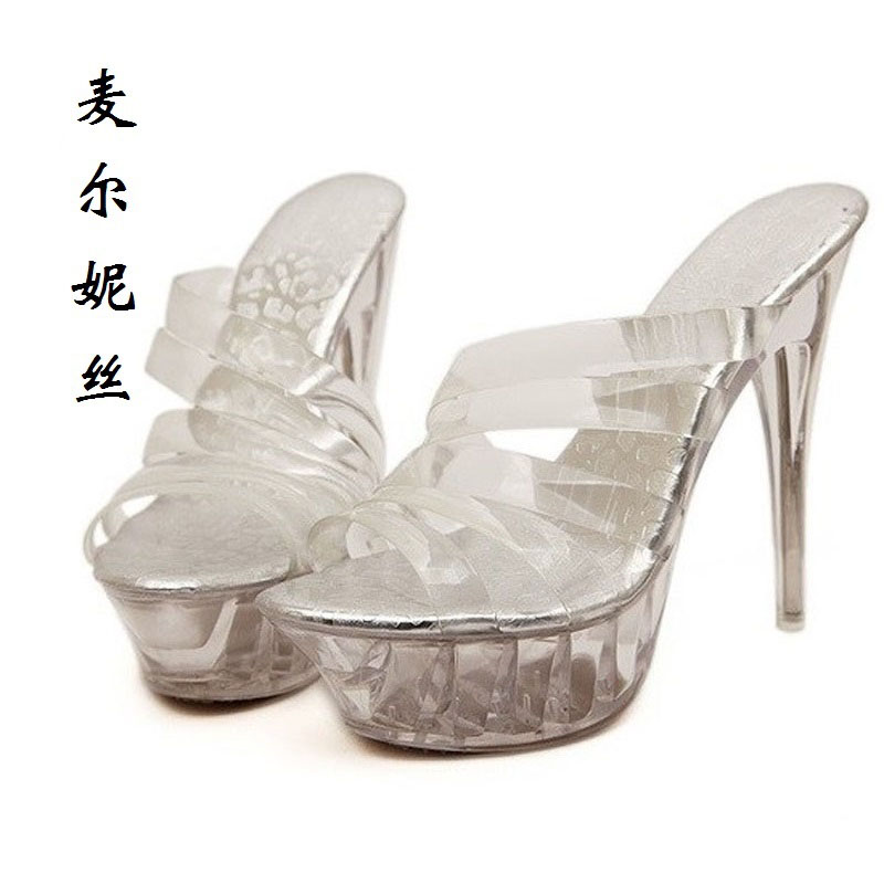 2017 Size 35-43 Transparent Slippers Women Platform Sandals Ladies Pumps High Heels Shoes Woman Summer Style Chaussure Femme newest summer style woman pumps shoes high quality ladies high heels basic shoes for party free shipping size 37 43